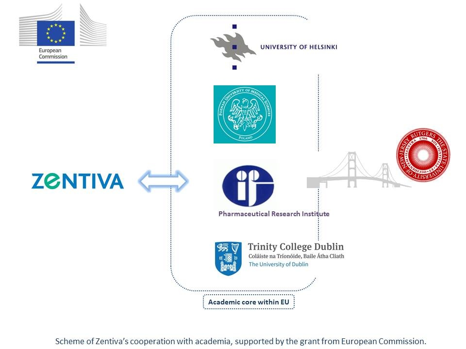 Scheme of Zentiva's cooperation with academia, supported by the grant from European Commission